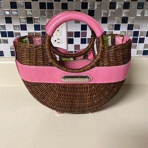 Isabella Fiore Brown Wicker Bag Pink Leather bow